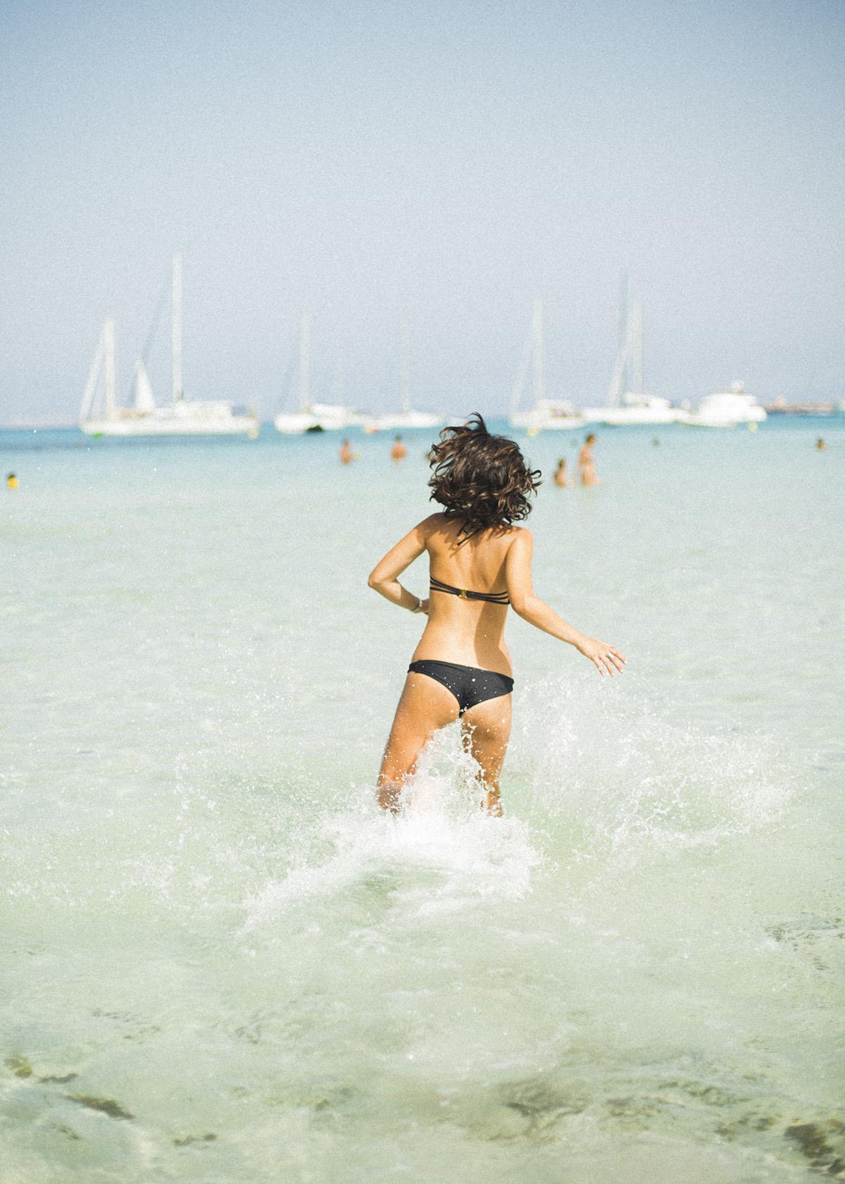 mar, playa, veleros, bikini