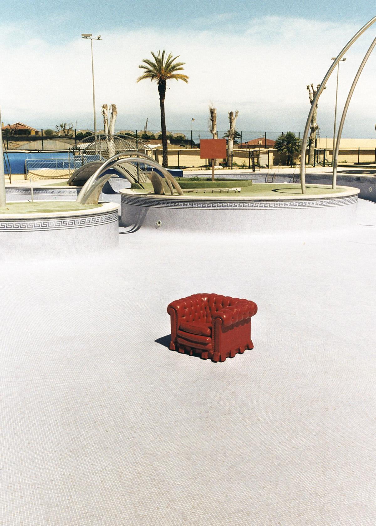 parque acuatico, sillon, abandono